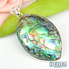 "Amazing ! Gorgeous Natural Abalone Shell Gemstone Silver Necklace Pendant 2 5/8"""