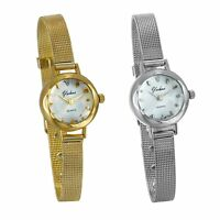 Luxury Women's Gold Silver Tone Stainless Steel Strap Quartz Analog Wrist Watch