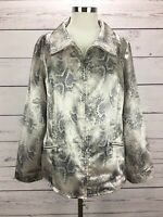 Weekends by Chicos 2 Women's Size L Jacket Animal Print Zip Front Pocket Sateen