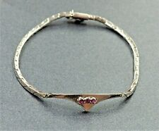 Womens Girls Ruby Bracelet Sterling Silver Snake Chain Italian ITALY Jewellery