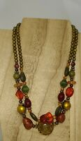 """Multi Strand Necklace 18"""" Metal Glass and Stone BOHO Statement  Vintage"""