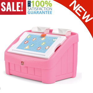 2 In 1 Kids Toy Box and Art Lid Pink Lid Doubles As An Art Board Storage Space