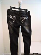 Antique Rivet Cotton Blend Acid or Stone Washed Distressed Skinny Jeans Size 27