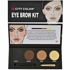 City Color Eye Brow Eyebrow Powder Kit Wax Primer Tweezers Shaper Brush Gift Set