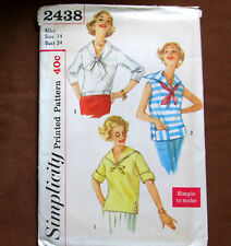 SAILOR OVER BLOUSE Shirt Size 14 Vintage Sewing Pattern Simplicity 2438