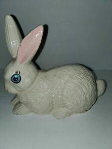 """Large White Hand Painted Glazed Ceramic Bunny Blue Eyes Statue Figurine 10""""x 9"""""""