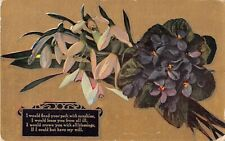 Bouquet of Snowdrops & Violets on Gold Background by Poem-1910 Postcard