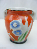 Vintage 1950's 2 1/4 Inch Miniature Orange Handled Vase Made In Japan Porcelain