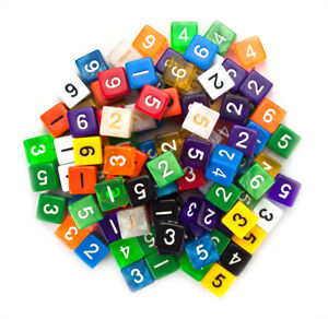 100+ Pack of Random Numbered 16mm 6 Sided D6 Dice in Multiple Colors