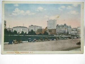 1915 POSTCARD EXCHANGE PLACE, PROVIDENCE RI STORE FRONTS, BILLBOARDS FLAG CANCEL