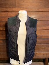 SALE! Vintage Polo By Ralph Lauren Quilted Vest W/ Suede Shoulder Patches Black