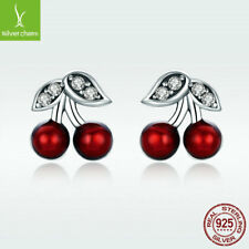New Summer 925 Sterling Silver Stud Dangle Earrings With Red Cherry Drop Jewelry