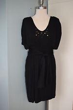 bcbg generation black knit embellished kimono dress M Excellent dolman b80