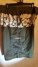 Speedo Board Shorts Swim Trunks Mens XL Army Green And white Hawaiian Print