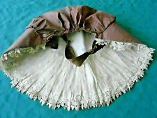 Authentic Antique Brown Bonnet With Large Brim And Handmade Lace,. Vintage 1850