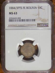 1884/3 PTS FE Bolivia 10 centavos NGC MS 63