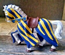 """PAPO Medieval Horse Figure Toy 4"""" White Blue Gold 2000 Striped"""