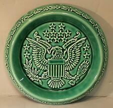 "Rockingham Harker 1840 Green Eagle Dish/Plate 8"" Dia. EXCELLENT"