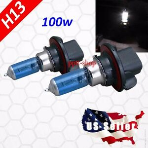 H13 9008 Halogen 1 Pair Headlight White Light Bulb High Low Beam 100w