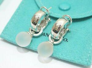 Tiffany & Co. Sterling Silver White Quartz Hoop Dangling Earrings