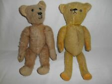 """2 Antique Vintage Fully jointed Mohair Teddy Bears 14"""" Excelsior/straw stuffing"""