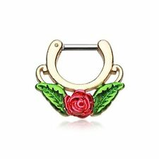 "Septum Clicker 16g 1/4"" 6mm Golden Rose Blossom Icon Earring Jewelry"