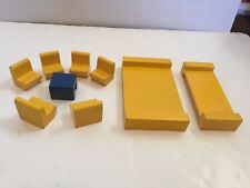 Old Wooden Wood Doll House Block Furniture Toy Bed Chairs Table Yellow Blue