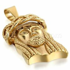 Men's Charm Stainless Steel Christ Jesus Head Portrait Pendant Necklace Chain