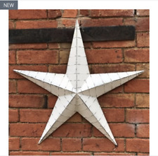Large 52cm White Washed Metal Amish Barn Star Rustic Hanging Shabby Chic Tin