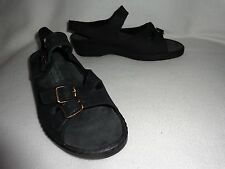 MEPHISTO MOBILS MADE IN FRANCE BLACK NUBUCK LEATHER 3-STRAP BUCKLE SANDALS--8 38