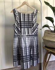 CUE dress Size 12 Check Plaid Ivory Black Green Fit Flare Corporate Work Cotton