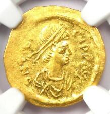 Byzantine Maurice Tiberius AV Tremissis Gold Cross Coin 582-602 AD. NGC MS (UNC)