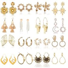 Bohemia Boho Ear Stud Fashion Jewelry Women Flower Crystal Dangle Drop Earrings