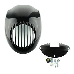Gloss Black Grill Headlight Fairing Mask Front Cowl Visor For Harley Dyna XL1200