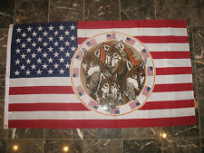 3x5 USA Patriotic 4 Wolves Wolf Pack Flag 3'x5' house banner