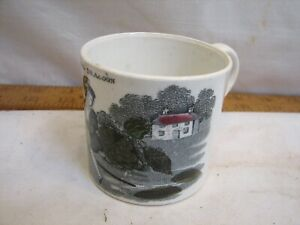 Child's Demitasse Transferware Cup The Young Dragoon Coffee Teacup Tea Porcelain