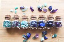 Bulk 7 Mini Glass Jar Bottles Natural Crystal Gemstone Chipstones Collection F
