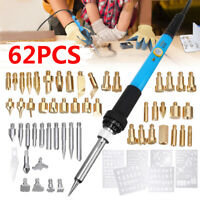 62Pcs 60W Wood Burning Pen Welding Stencil Set Soldering Iron Burner Tool  ❤✔✔