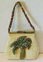 Vintage Mary Frances Evening Bag Beaded Palm Tree Purse Handbag Rare