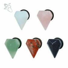 Diamond Shape Ear Plugs Tunnels Natural Stone Ear Gauge Piercings Expanders