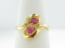 Natural Red Rubies Genuine Diamonds Solid 14k Yellow Gold Ring FREE Sizing