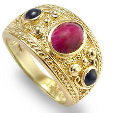 14k Y/ Gold Three-Stone Ruby Sapphire Men's Ring 12.3 grams Ring Size - 6 TO 14