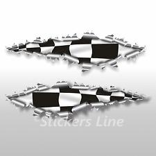 Adesivi SCACCHIERA strappo lamiera stickers cm 22 scacchi bandiera a scacchi