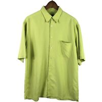 Bugatchi Uomo Mens Button Up Shirt Size Large Green Short Sleeve Pocket