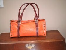 CLAUDIA FIRENZE ITALY ORANGE & BROWN STUDDED OSTRICH EMBOSSED BARREL BAG