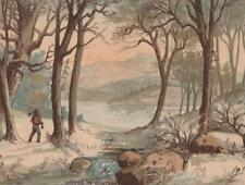 Antique Bufford Color Lithograph Print~WOODS IN WINTER~7x5 in~Woodsman w Ax~1880