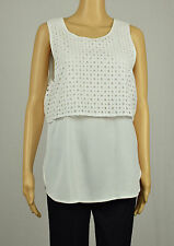 Michael Michael Kors Womens White Sleeveless Eyelet Overlay Blouse Top L