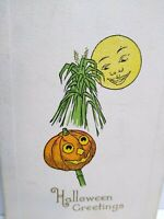 Vintage Halloween Postcard Gibson Mr Moon Smiling On Pumpkin Head Man Unused