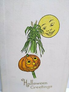 Vintage Halloween Postcard Gibson Mr Moon Lite Smiles At Pumpkin Head Man Unused