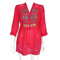 New JOHNNY WAS Pink Embroidered Lace Peasant Tunic Top Waist Tie sz XS NWT /4486